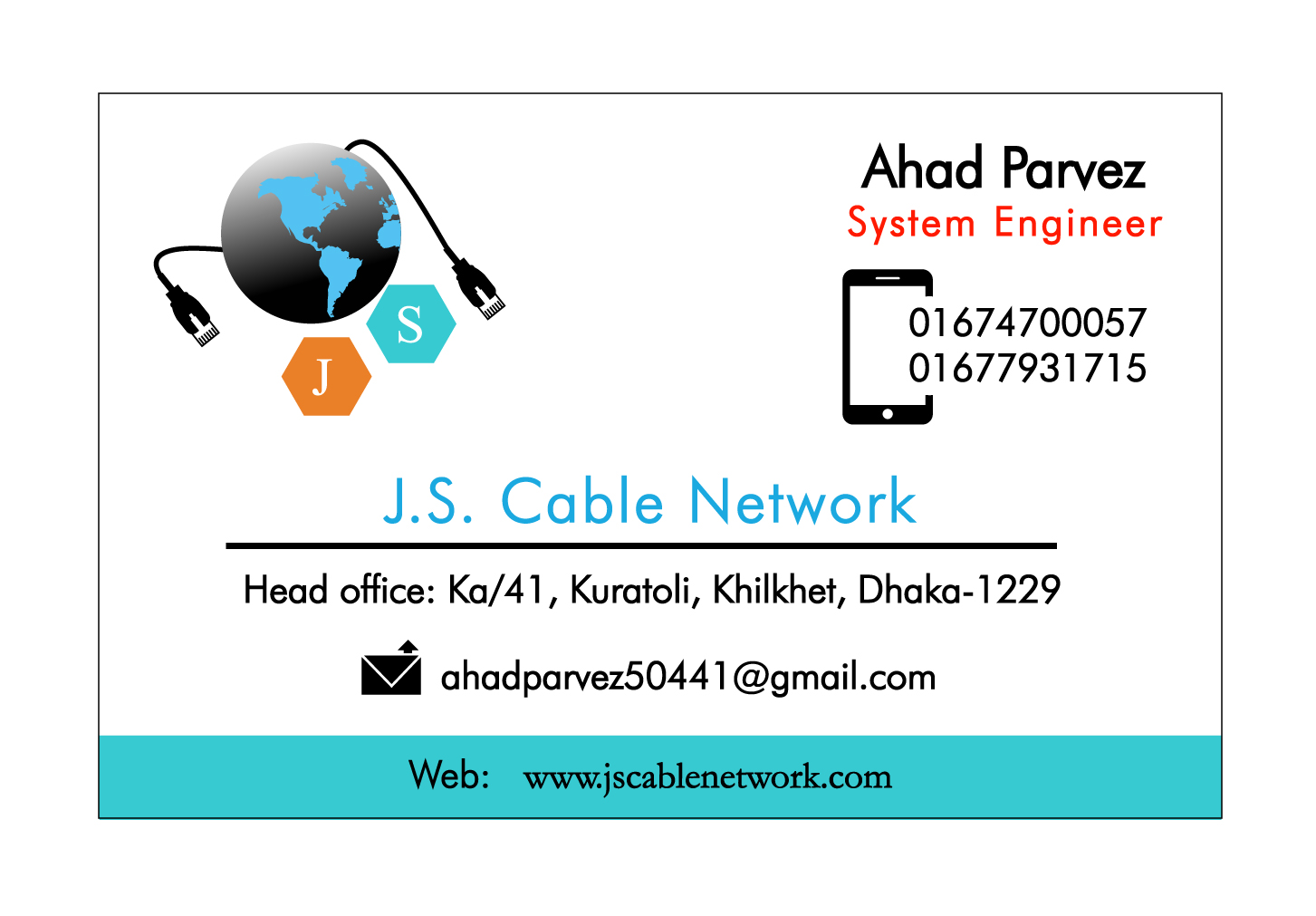J.S. Cable Network Business card | Curvepixel