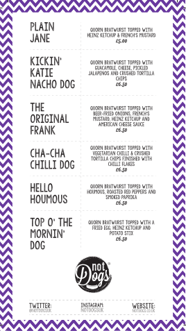 Not Dogs Menu