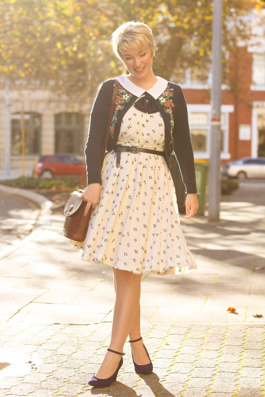 Liana of Finding Femme in Fremantle WA wearing vintage chelsea collar dress, nave embroidered cardigan, Modcloth blue suede wedge heels and Review Australia navy 'Willow' winter coat.