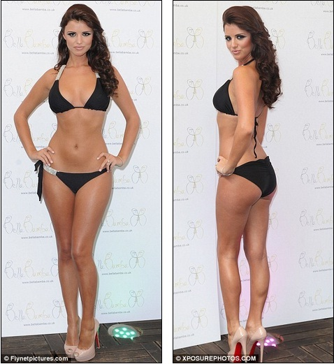 ced72e6f23791 The best advert: TOWIE star Lucy Mecklenburgh looked stunning in a  bedazzled black bikini as she launched her Bella Bamba swimwear range in  London today