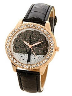Habors Rhinestone Studded Tree of Life Watch