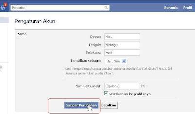Mengganti Nama profil Facebook