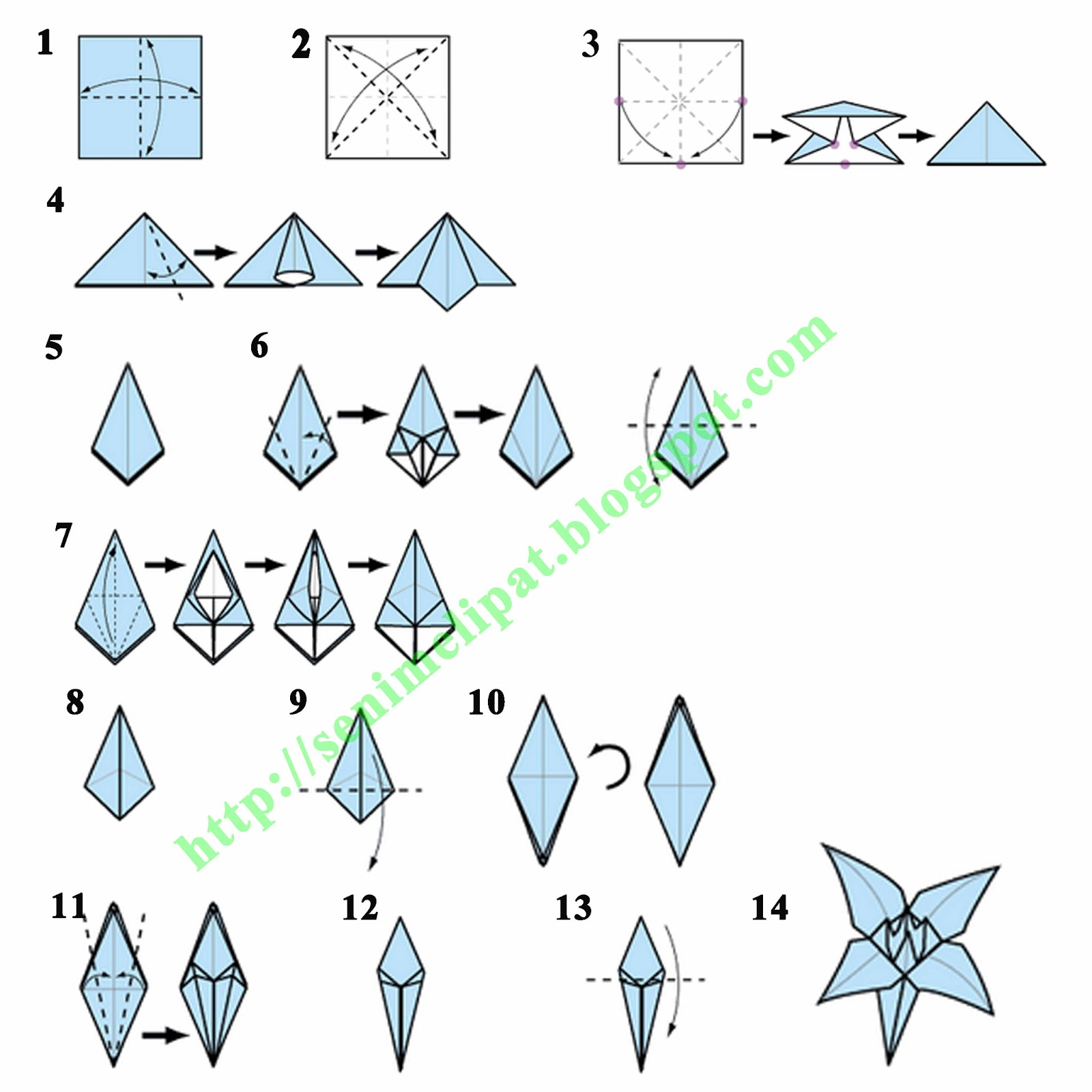 membuat bunga lily dari kertas lipat origami