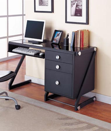 image black bedroom desk
