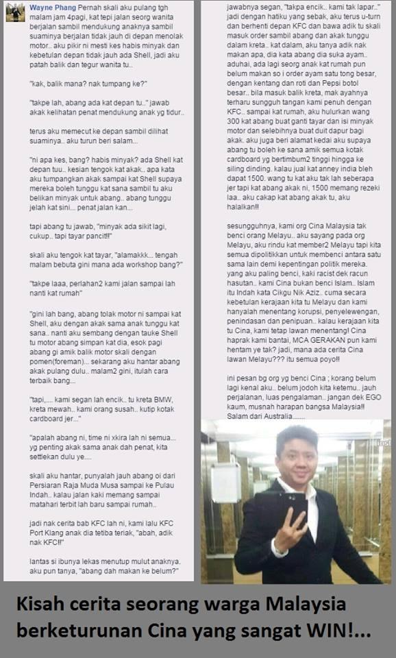 Kisah Seorang Cina Bantu Keluarga Melayu Ini Jadi Viral