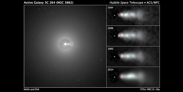 """In the central region of galaxy NGC 3862 an extragalactic jet of material can be seen at the 3 o'clock position (left). Hubble images (right) of knots (outlined in red, green and blue) shows them moving along the jet over 20 years. The """"X"""" is the black hole. Credits: NASA, ESA, and E. Meyer STScI"""