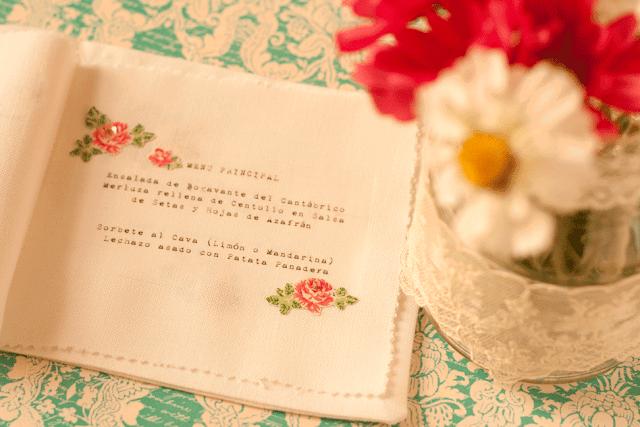 Menú de boda en tela