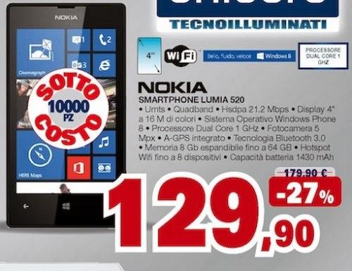 Disponibili ben 10000 pezzi al prezzo sottocosto di 129,90 euro di Nokia Lumia 1520