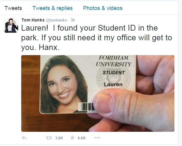 Tom Hanks College ID Students Fordham University