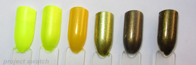 swatches - 1- Kleancolor Funky Yellow (neon), 2- China Glaze Sun-Kissed (neon), 3- Sinful Colors Let's Meet, 4- WnW Chrome I Got a New Com-Pewter, 5- NYC Python Green, 6- Butter London Wallis
