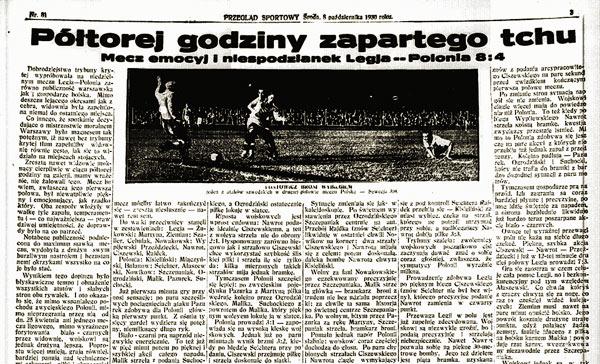 """Artykuł o derbach Warszawy w """"Przeglądzie Sportowym"""" z 1930 r."""