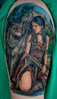 Indian Girl Wolf Tattoo