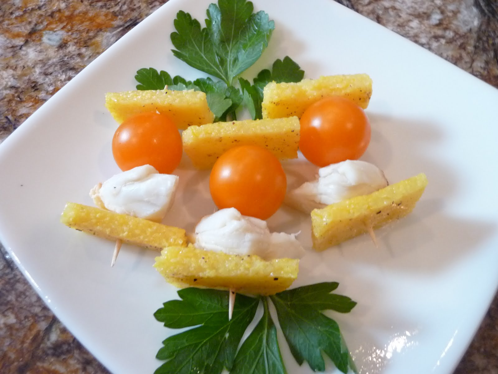 Chef Bolek: Polenta Bites with Tomatoes and Crab