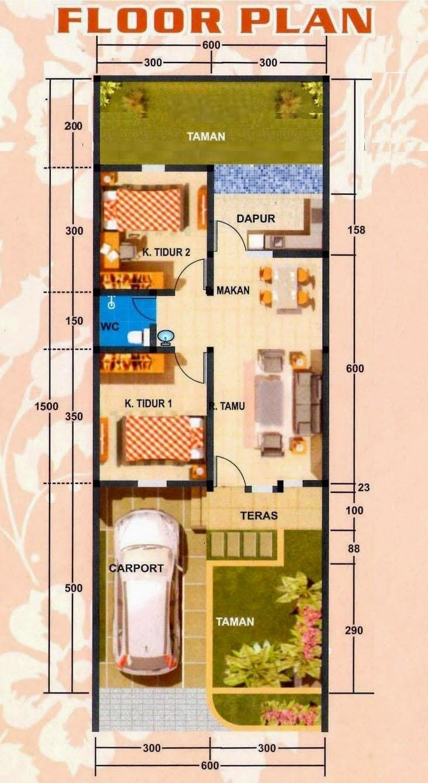 Desain Rumah Minimalis 1 Lantai Ukuran 6X15 MODEL RUMAH UNIK