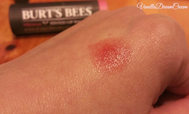 swatch of burt's bees lip balm hibiscus