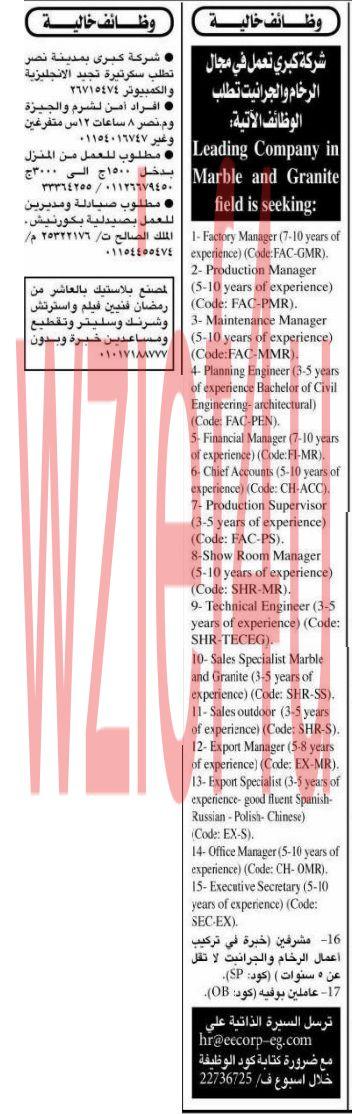وظائف جريدة الأهرام الجمعة 8 مارس 2013 -وظائف مصر الجمعة 08-03-2013
