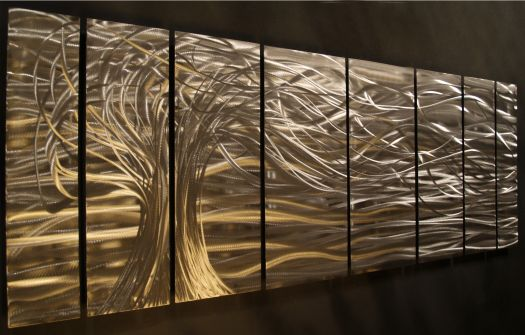 Metallic Wall Paneling : Interior design trends creative metal wall art ideas