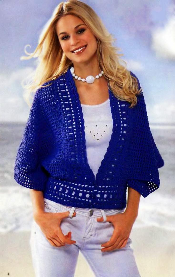 Chaleco poncho en azul | Crochet y Dos agujas - Patrones de tejido