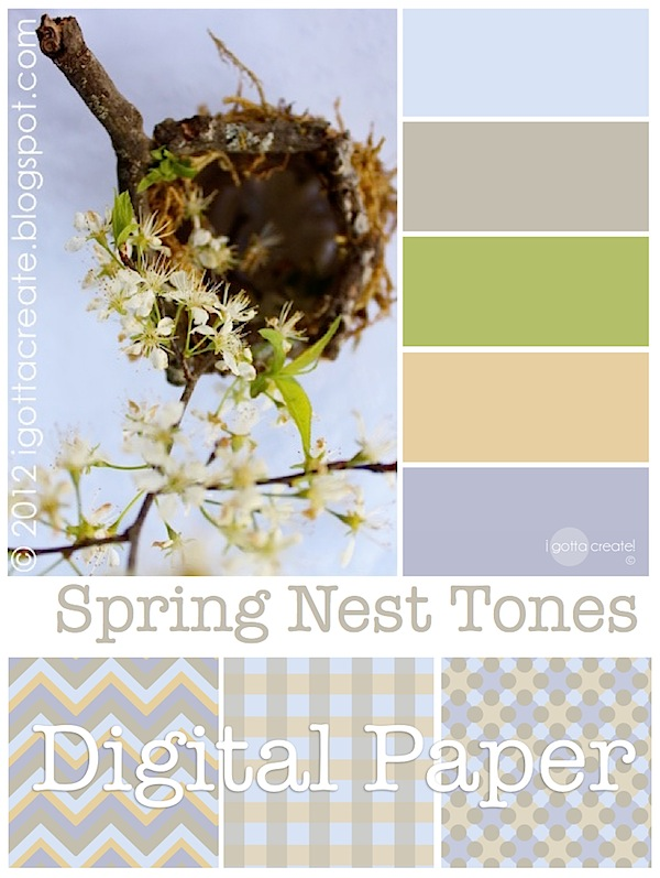 Spring nest inspires a pretty color palette and designer digital paper #printables | Grab it at I Gotta Create!