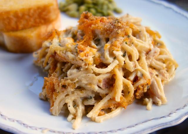 Chicken Spaghetti Casserole - chicken, spaghetti, cream of chicken ...