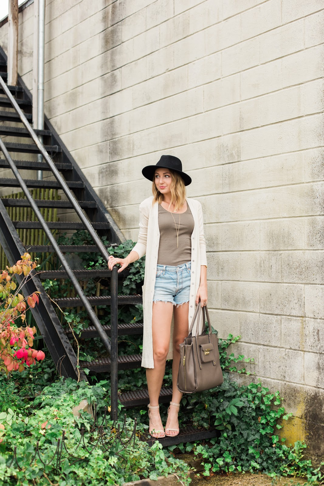 Long Cardigan with Cutoffs and a Hat