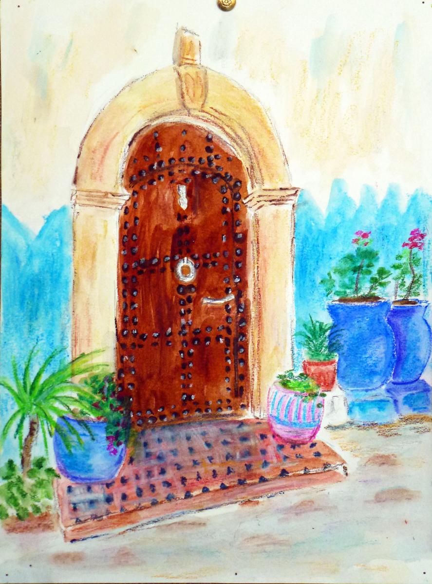 art de vivre la peinture de peintrefiguratif peinture aquarelle exotique porte marocaine et jarre. Black Bedroom Furniture Sets. Home Design Ideas