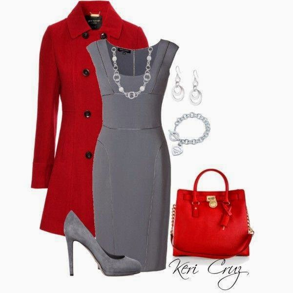 Outfit Set In Gray And Red Combination