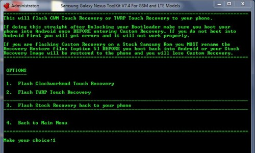custom recovery on galaxy nexus