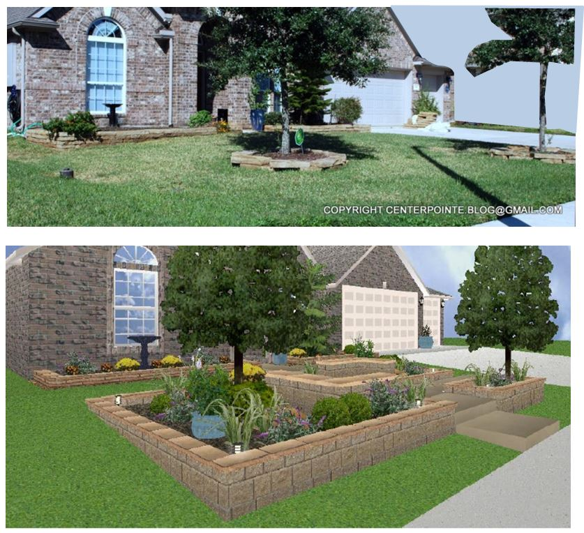 Centerpointe communicator front yard courtyard design for Front yard courtyard design