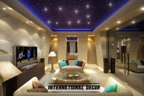 living room lighting with creative ceiling design