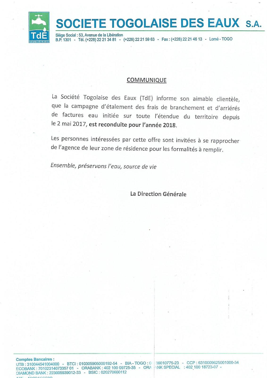 COMMUNIQUE - TDE