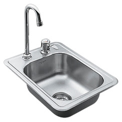 Moen 22245 Camelot Self-Rimming Bar Sink With Faucet & Strainer