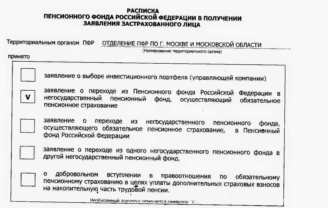 Расписка Пенсионного Фонда Российской Федерации в получении заявления застрахованного лица