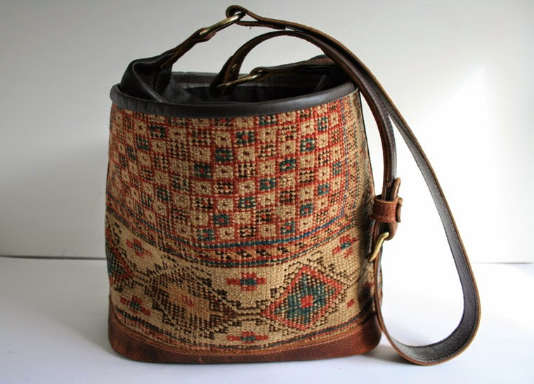 handmade vintage carpet bucket bag