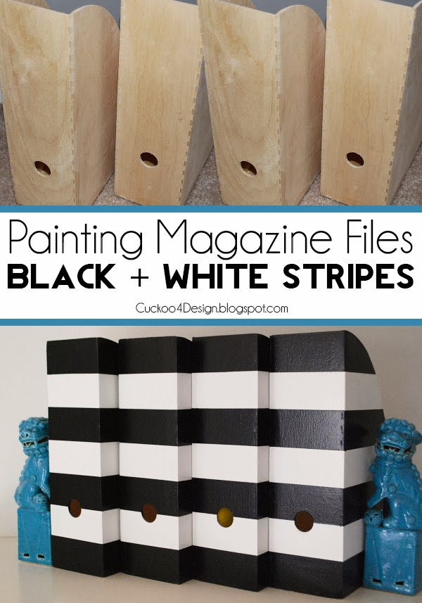 black and white striped magazine files