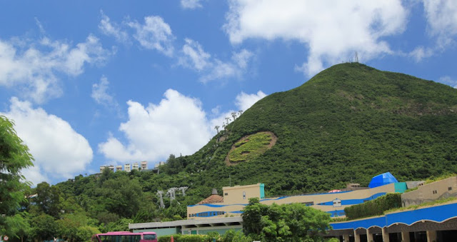 Crafted Dragon image on the mountain which is located next to Ocean Park in Stanley, Hong Kong