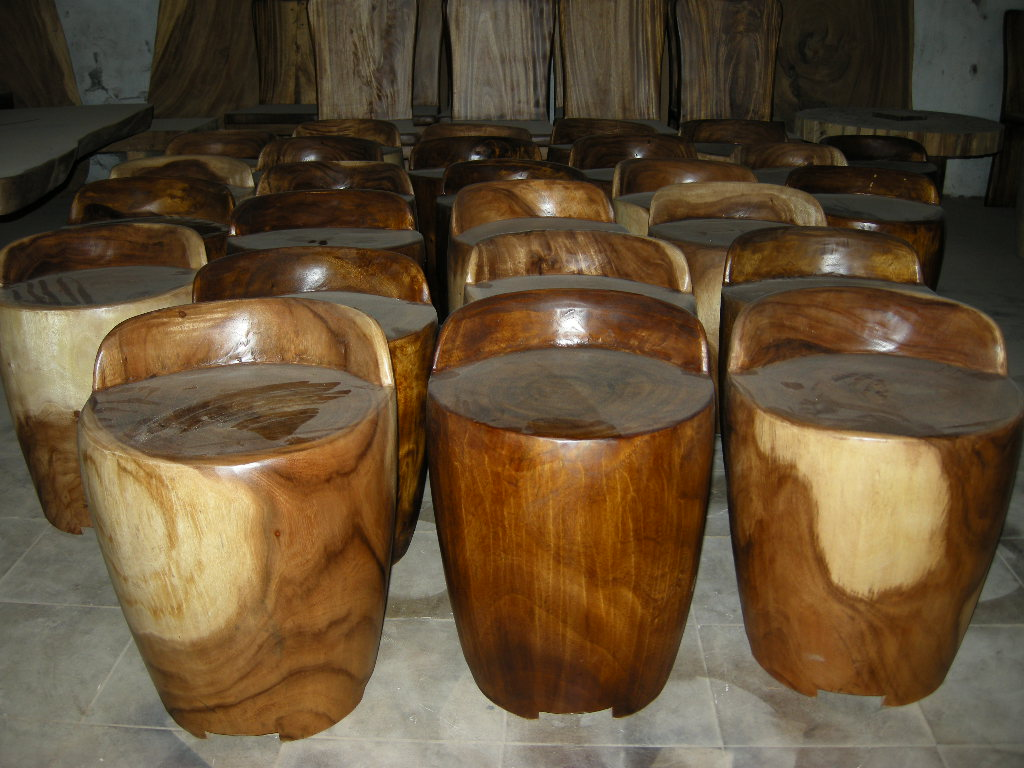 Solid wood stool indogemstone