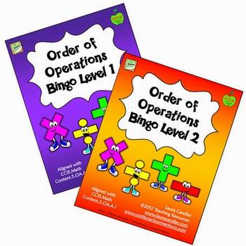Order of Operations Bingo Game from http://www.teachingisagift.blogspot.ca