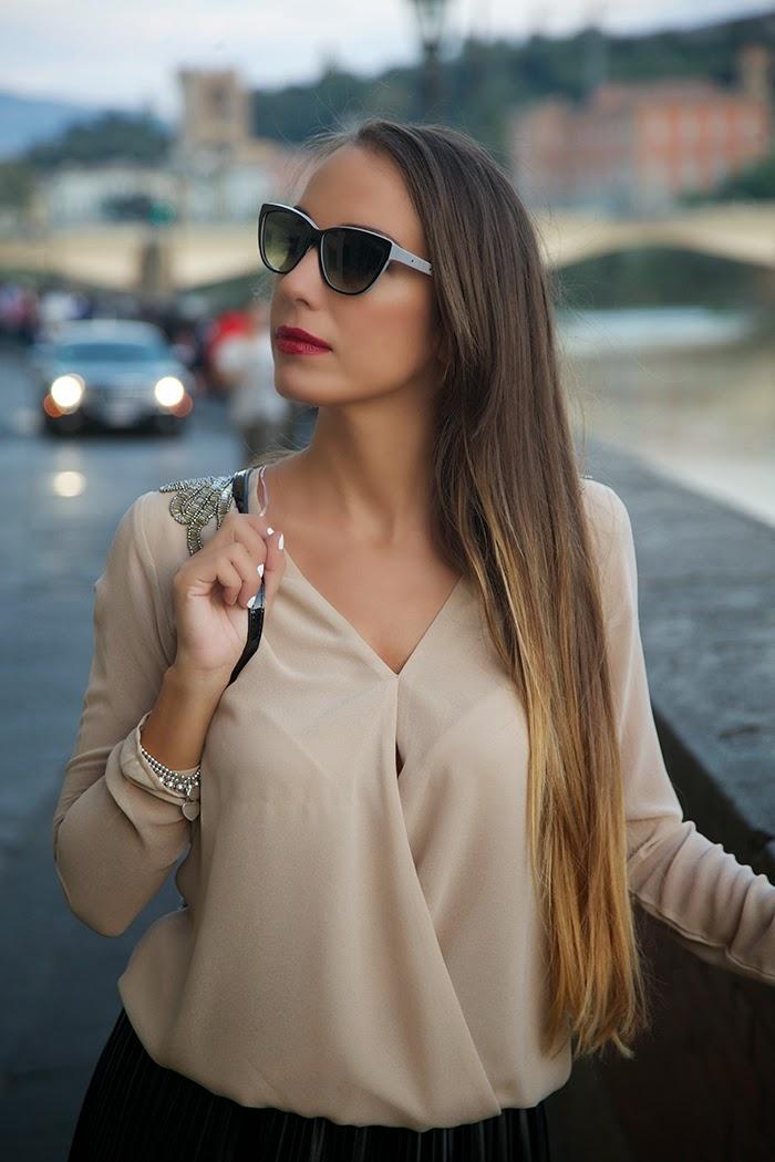 blusa elegante cipria