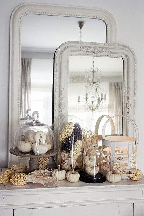 Pretty neutral fall mantel decoration