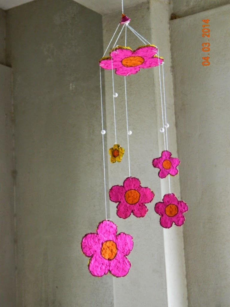 Paper mache wind chime yellow craft for Wind chime craft projects