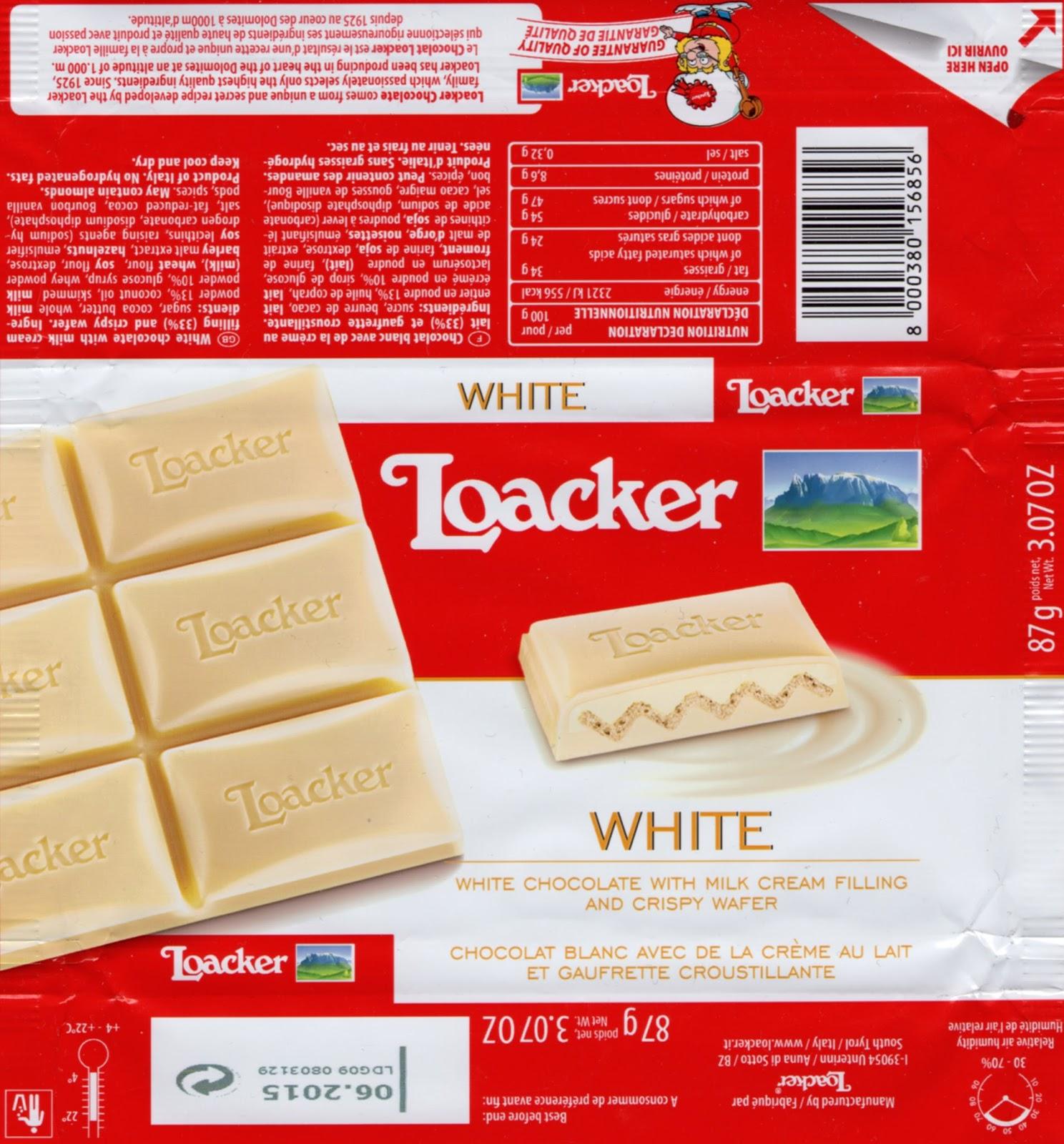 tablette de chocolat blanc fourré loacker blanc et gaufrette croustillante