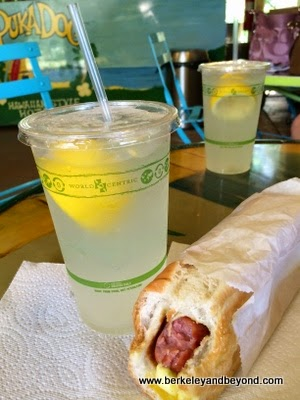 Polish dog and lemonade at Puka Dog in Poipu, Kauai, Hawaii