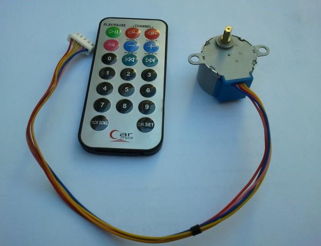 Unipolar stepper motor control from ir remote control for Stepper motor rc car