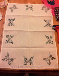 Lino print tea towel