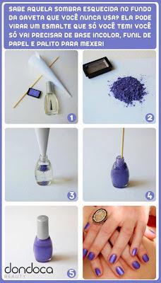 como fazer esmalte com sombra de olhos