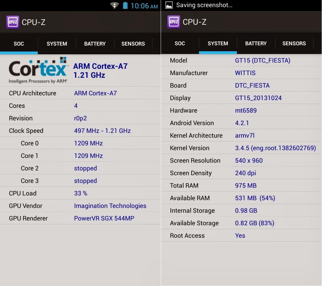 DTC Mobile GT15 Astroid Fiesta CPU Z Info