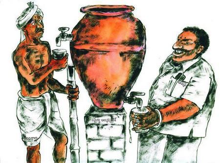 Tranh biếm người giàu và nghèo qua việc lấy nước