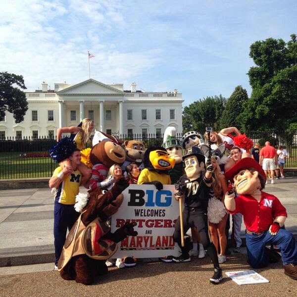 Big Ten mascots gather for photo shoot in front of White House for photo shoot.