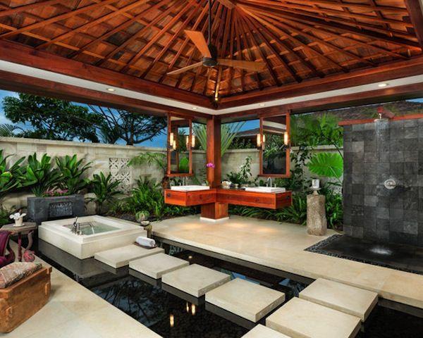 Baño Estilo Oriental:Un baño estilo oriental, con toques Zen Una piscina con valdosas de